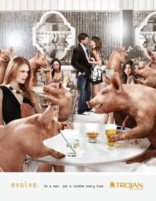Este anuncio , quiere decir que si no utilizas protección eres un cerdo .