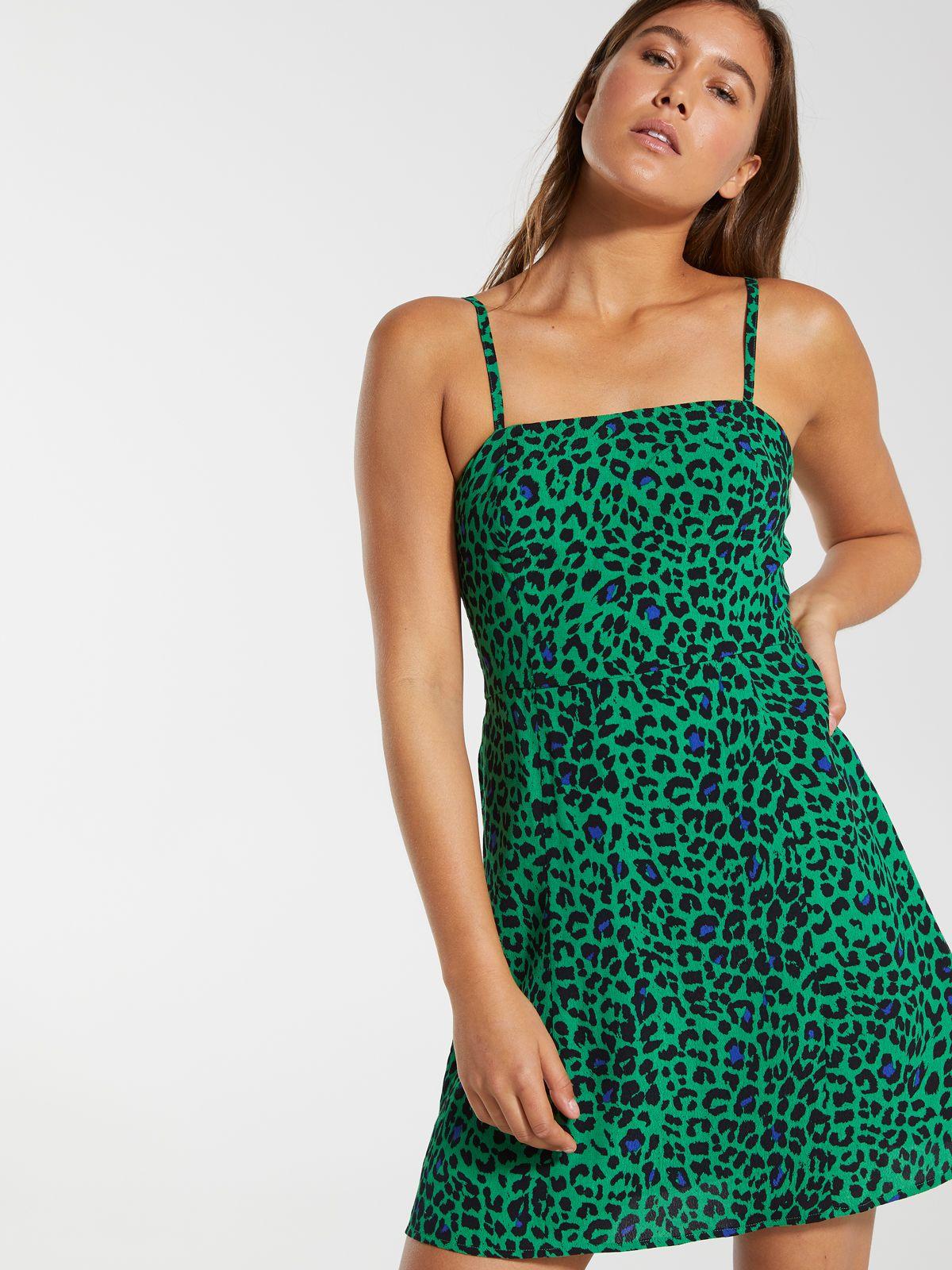 Demi Square Neck Sleeve Dress Green Leopard Dotti Online Online Maxi Dress Jumpsuit Dresses Latest Dress For Women [ 1600 x 1200 Pixel ]