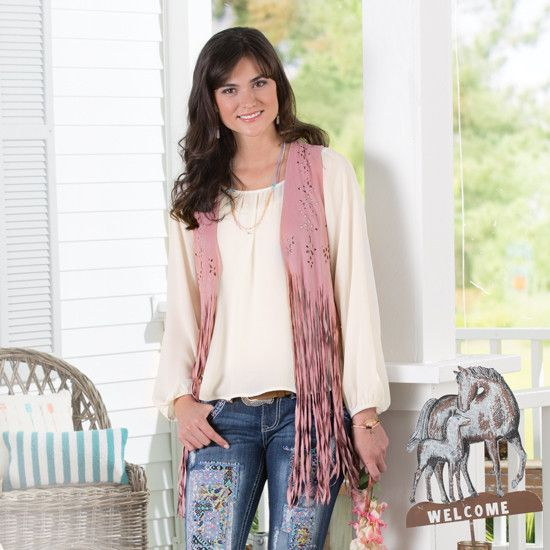 Sweet Pea Fringe Vest. Would look perfect with my pink Corral boots :)