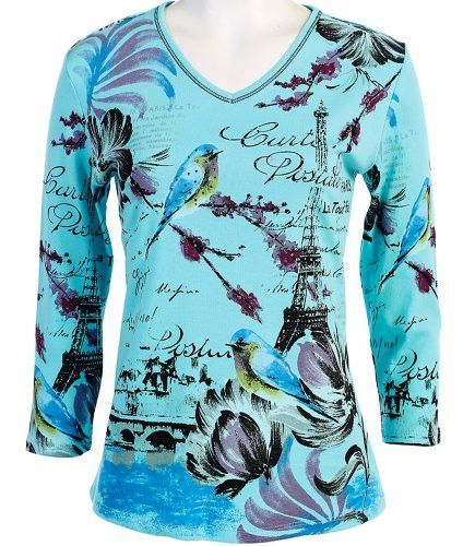 Jess & Jane - Friendship, 3/4 Sleeve, V-Neck, Bahama Color Cotton Rhinestone Top