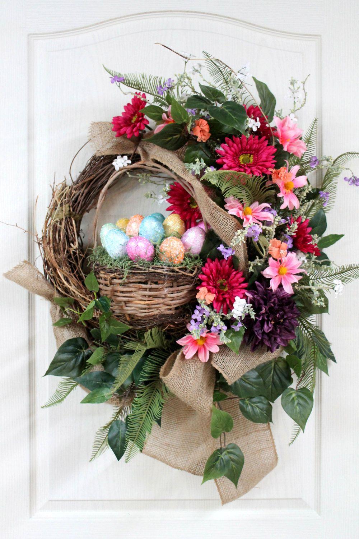 easter country front door wreath easter basket by. Black Bedroom Furniture Sets. Home Design Ideas