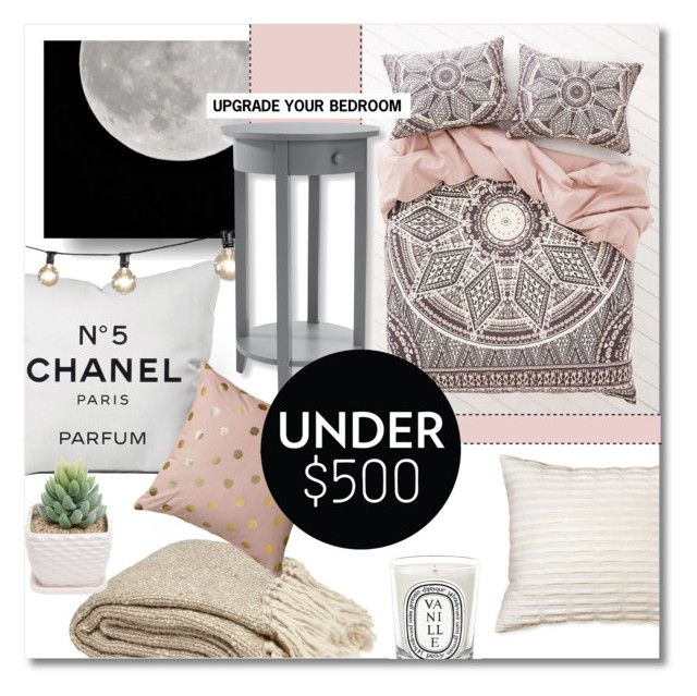 """Upgrade Your Bedroom With $500"" by lavida ❤ liked on Polyvore featuring interior, interiors, interior design, home, home decor, interior decorating, Chanel, Dot & Bo, Magical Thinking and Bloomingville"