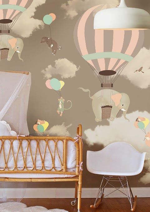 Little hands little hands wallpaper mural falling elephants and hot air balloons in shades of gray yellow and aqua