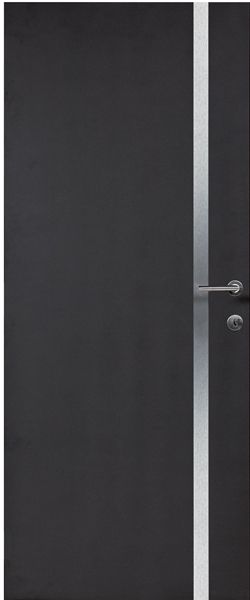 Porte int rieure contemporaine mdf noir insert alu vernis for Porte interieure contemporaine
