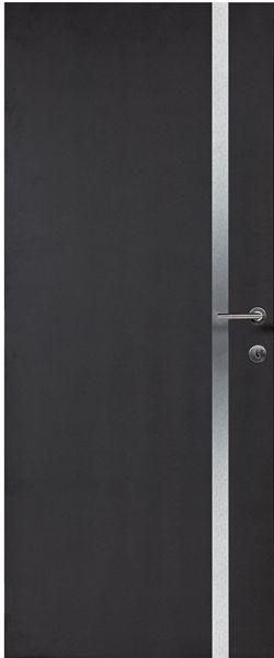 Porte intérieure contemporaine mdf noir insert alu vernis naturel