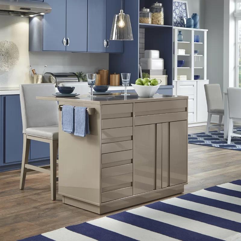 Emblyn Kitchen Island Set With Granite Top Grey Kitchen Island