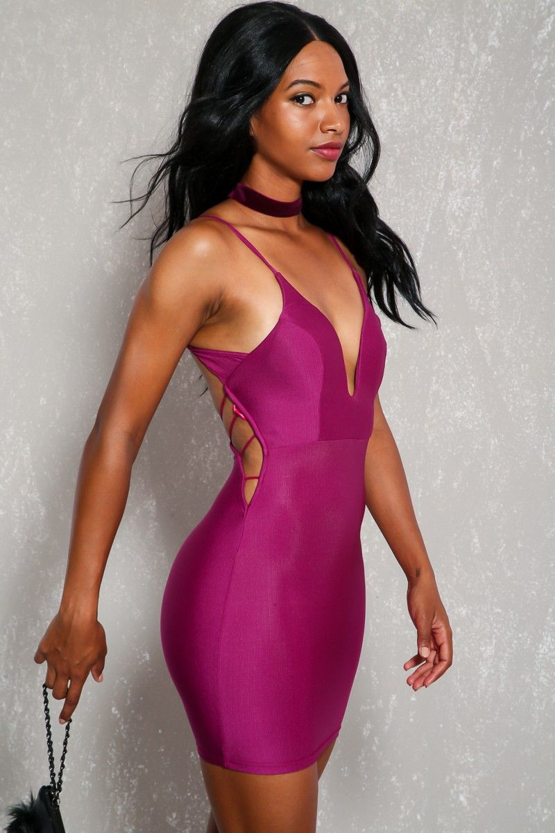Sexy purple sleeveless v cut strappy cut out back bodycon party