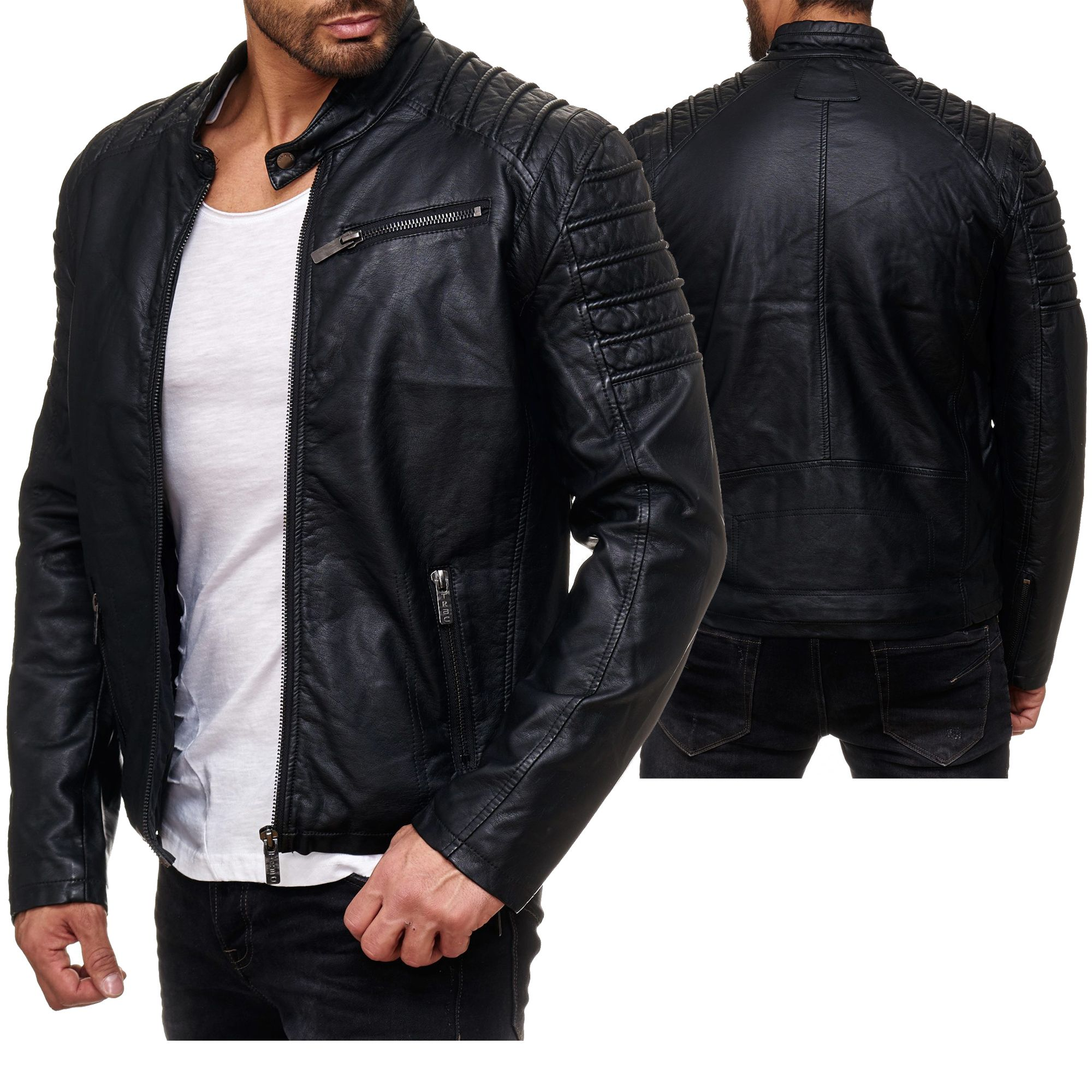 Designer Herren Motorrad Lederjacke Bikerjacke Vintage Jacke Motorradjacke Used