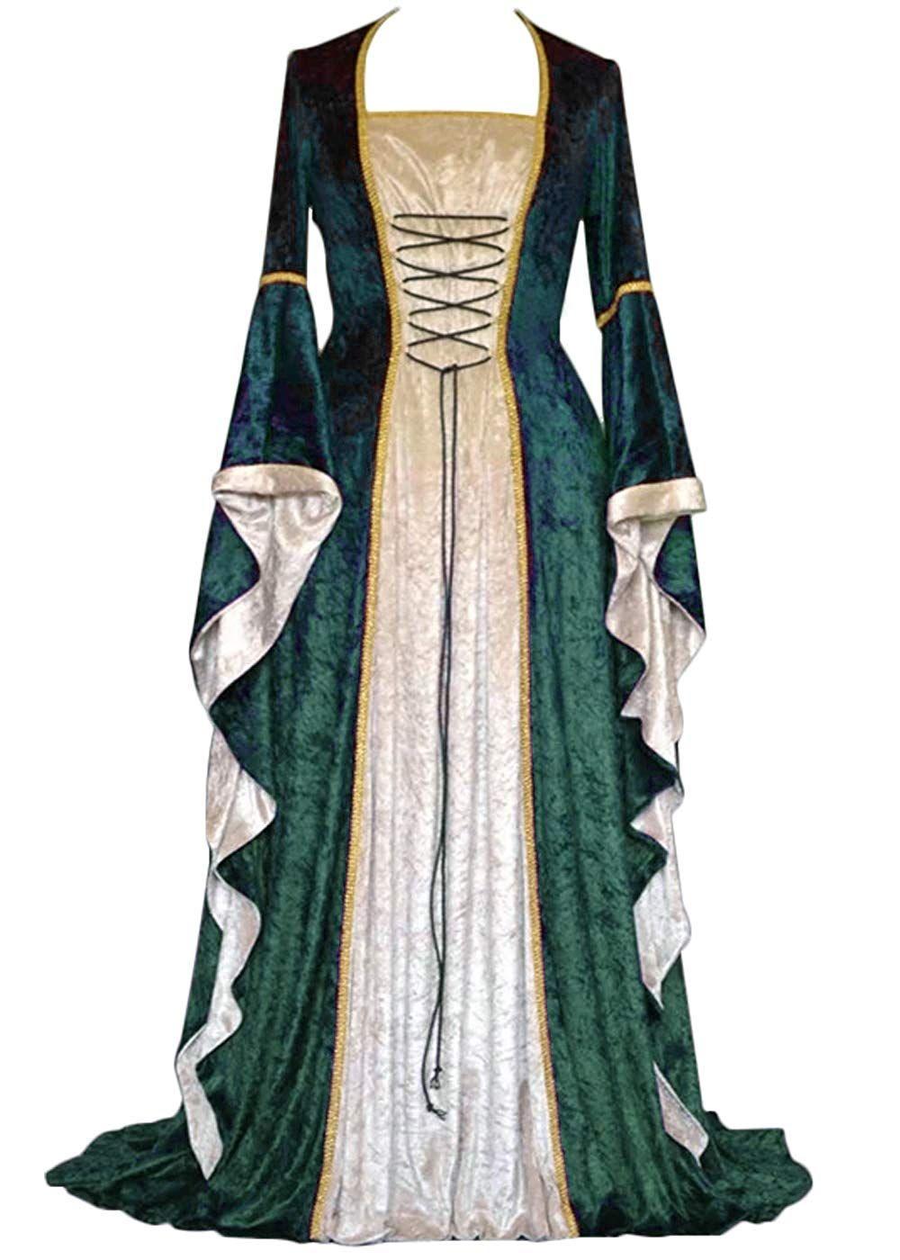Damen Renaissance Mittelalter Kostümkleid Lace Up Irish Over Long Kleider Retro Kleid – Klein / Grün