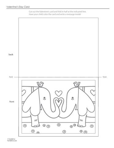 Coloring Pictures Of Valentines Day Cards. Cute Valentine s Day Card to Color  http familyfun go com assets