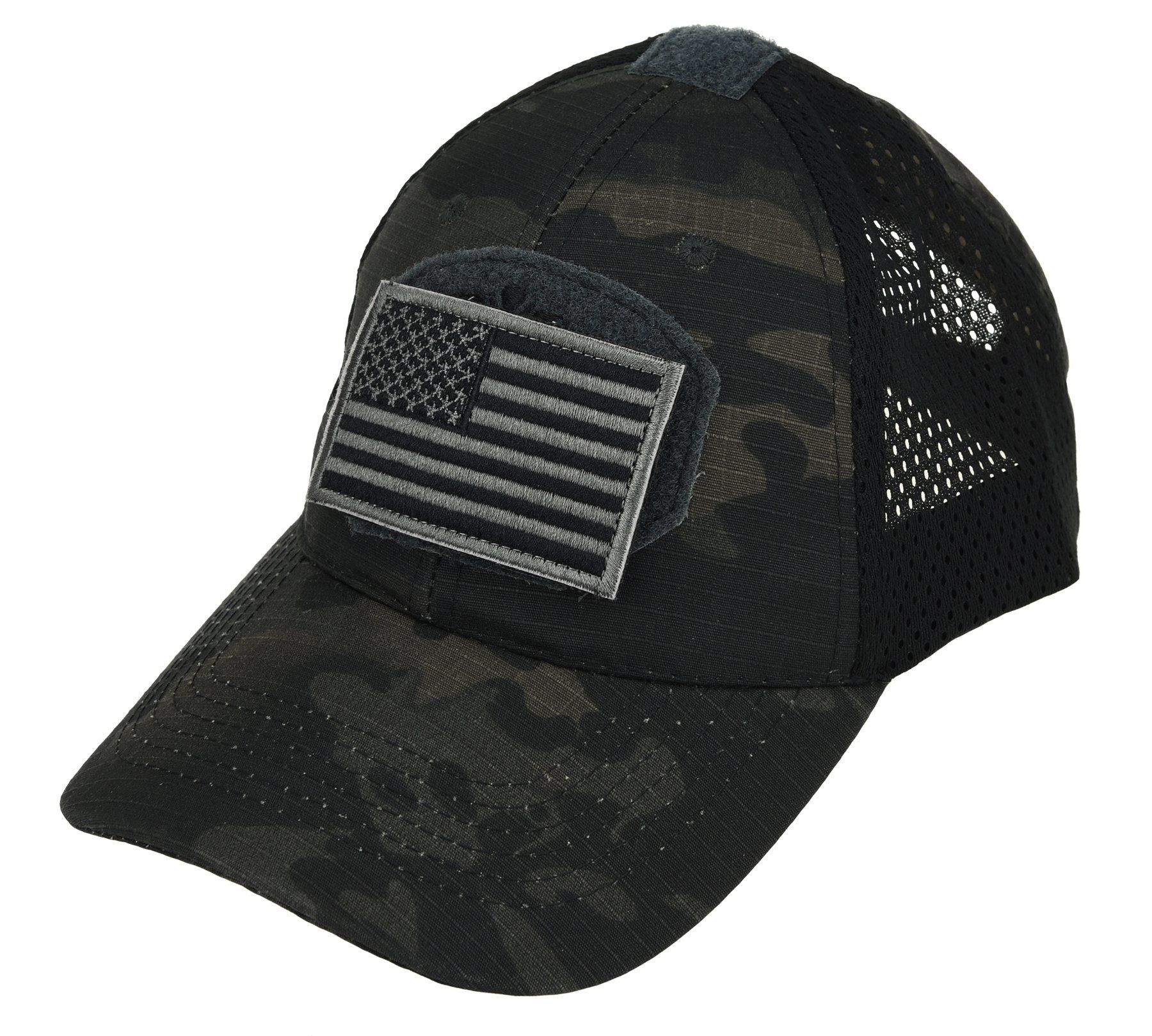 58976a1b3d5 ArcEnCiel Tactical Mesh Cap With Patch (Black). Made of a comfortable  cotton +