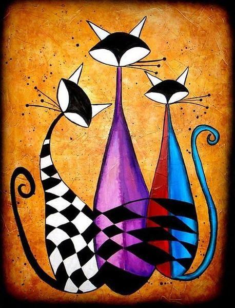 5D Diamond Painting Three Tall Abstract Cats Kit