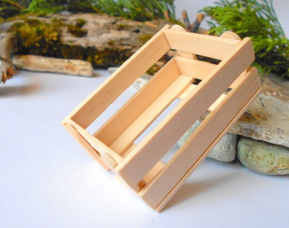 Dollhouse Wooden Crate Plain Wood Miniature Crate Accesories 112