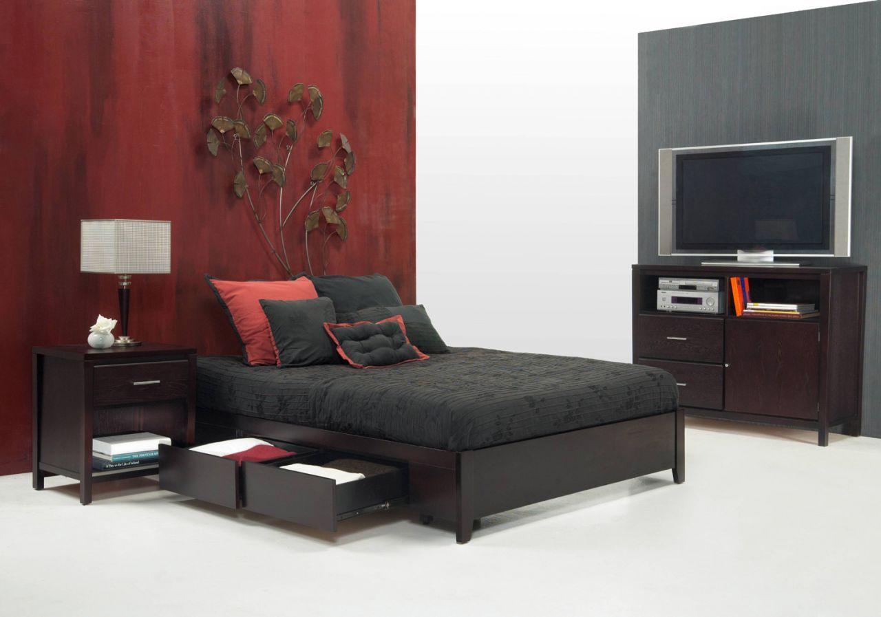 Simple King Platform Storage Bed Espresso Contemporary Bedroom Modus Furniture Home Gallery S