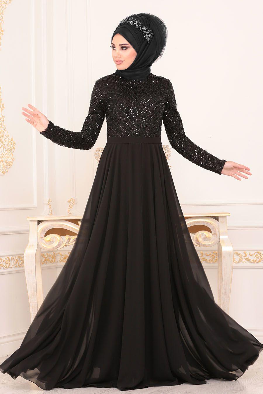Tesetturlu Abiye Elbiseler Pul Payetli Siyah Tesettur Abiye Elbise 8588s Tesetturisland Com Elbiseler Musluman Elbisesi Elbise