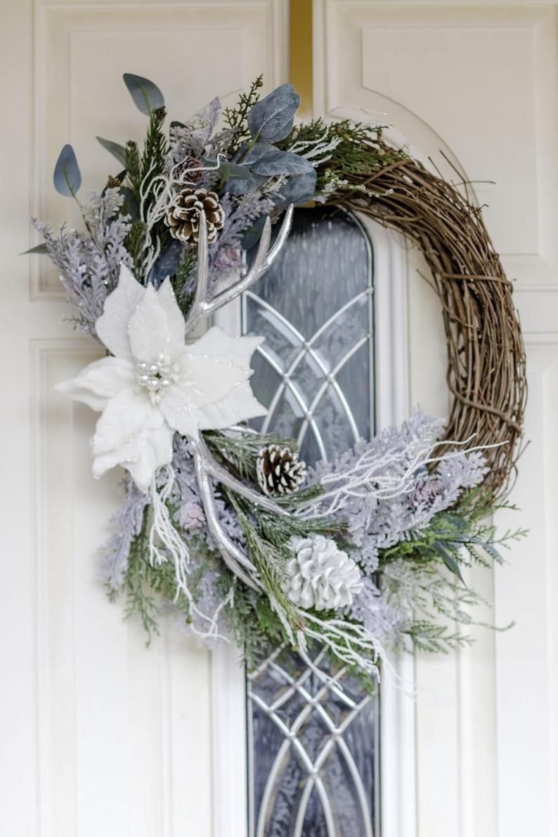 Winter Wreath Christmas Wreath White Wreath Rustic Wreath Poinsettia Wreath Grapevine Wreath Holiday Wreath Silver Wreath Christmas Wreaths Winter Wreath Christmas Mesh Wreaths