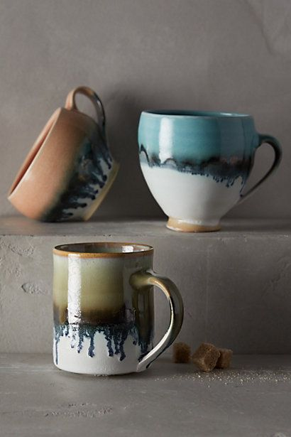 Amazing Glazed Hand Thrown Stoneware Coffee Mugs   These Are One Of A Kind And Such