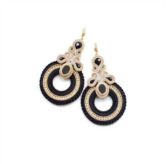 Soutache Earrings, Gold Black, Gold Earrings, Handmade, Statement Jewelry, Dangling Earrings, Long Earrings, Round