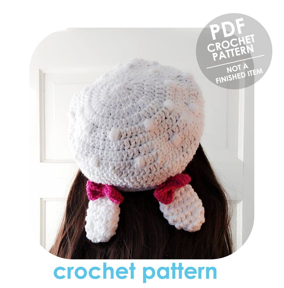 crochet pattern - bunny ears beret with bows - adorable slouchy ...