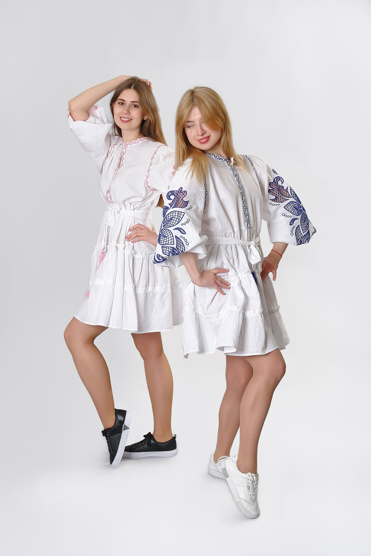 gift for her linen summer dress Hand cutwork embroidered mini dress Wonderflower white