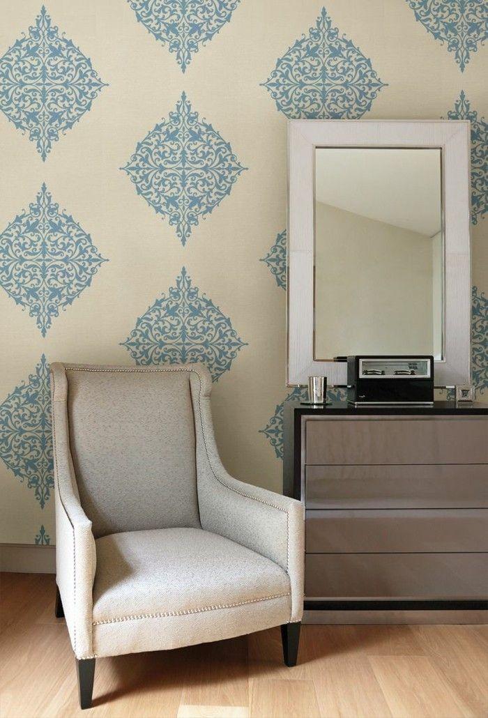 wandgestaltung ideen wohnzimmer dekorieren tapete muster - wohnzimmer dekorieren ideen