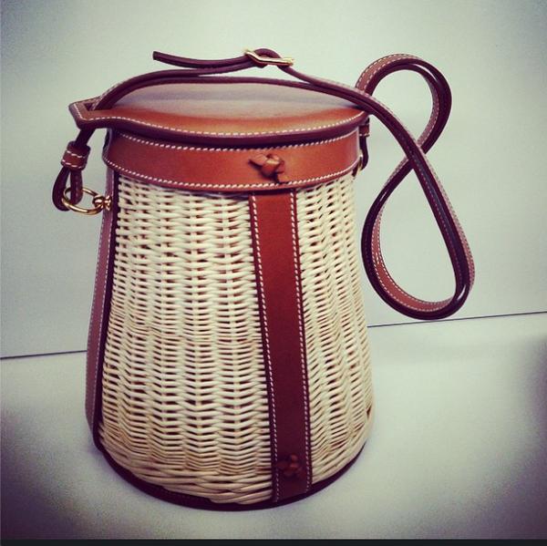 Hermes Spring 2015 Gold Wicker Picnic Bag 120814