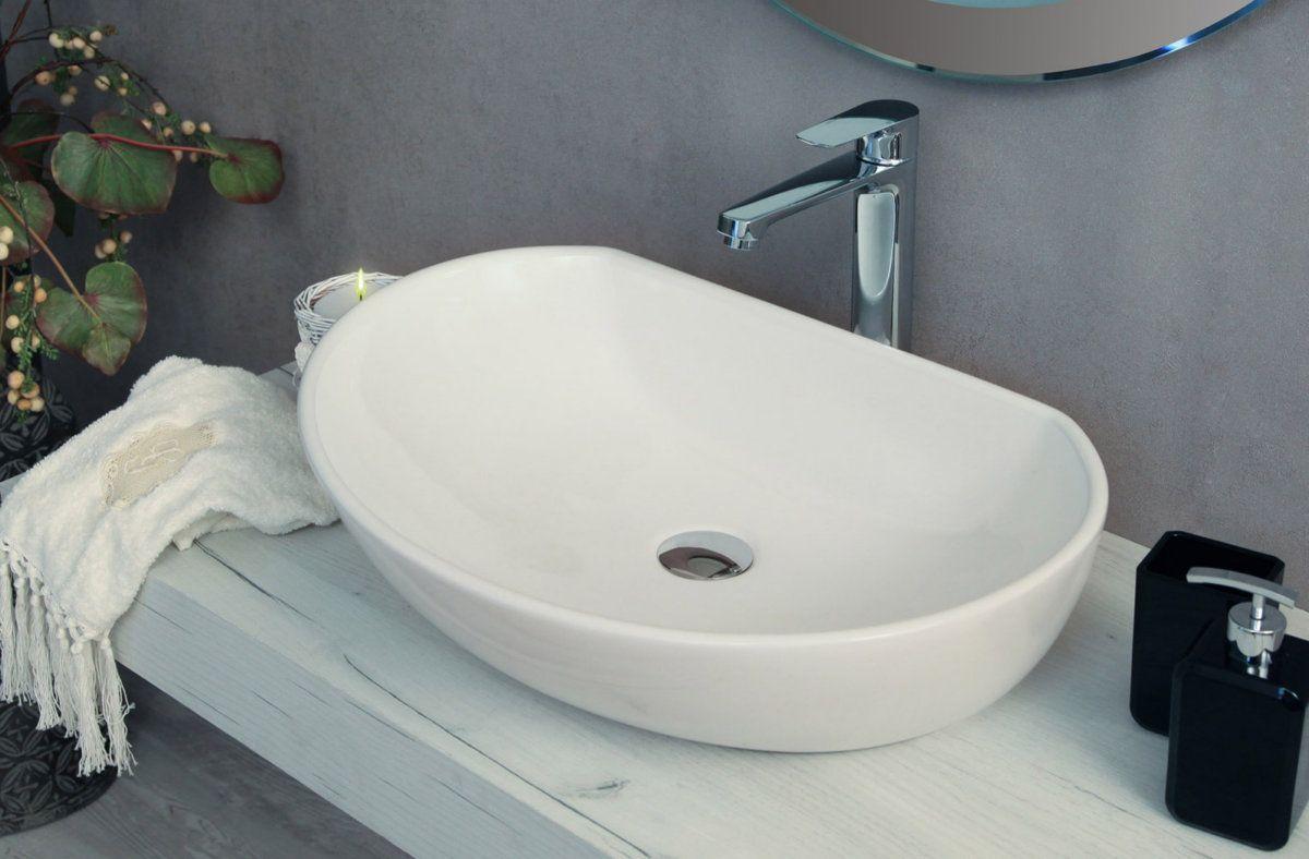 Lavabo Da Appoggio A Goccia Ovale Squadrato In Ceramica Bianco