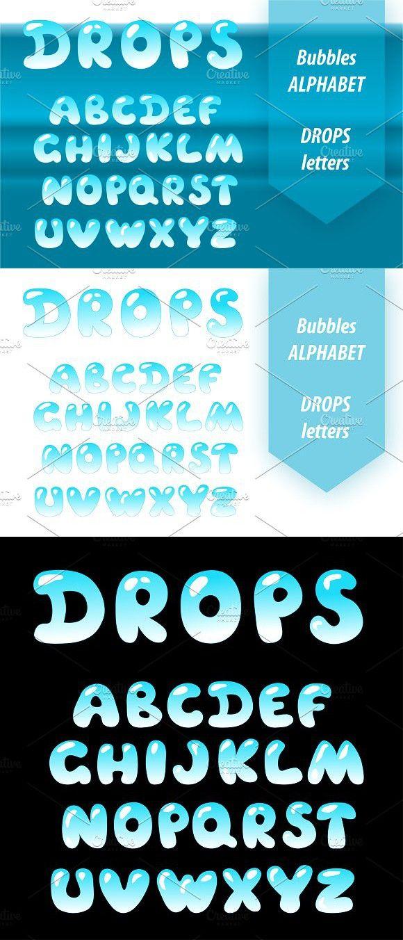 Bubble Letters Water Drop Font Photoshop Textures