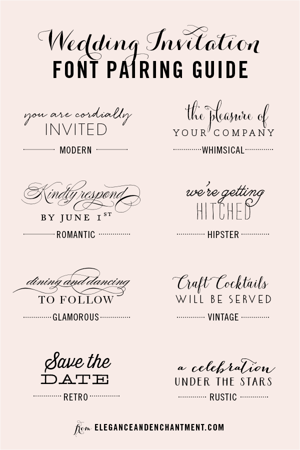 Wedding Invitation Font Pairing Guide Modern In 2019 Wedding