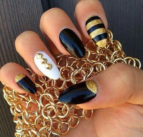 nails art  almond nails designs gold nails cute nails