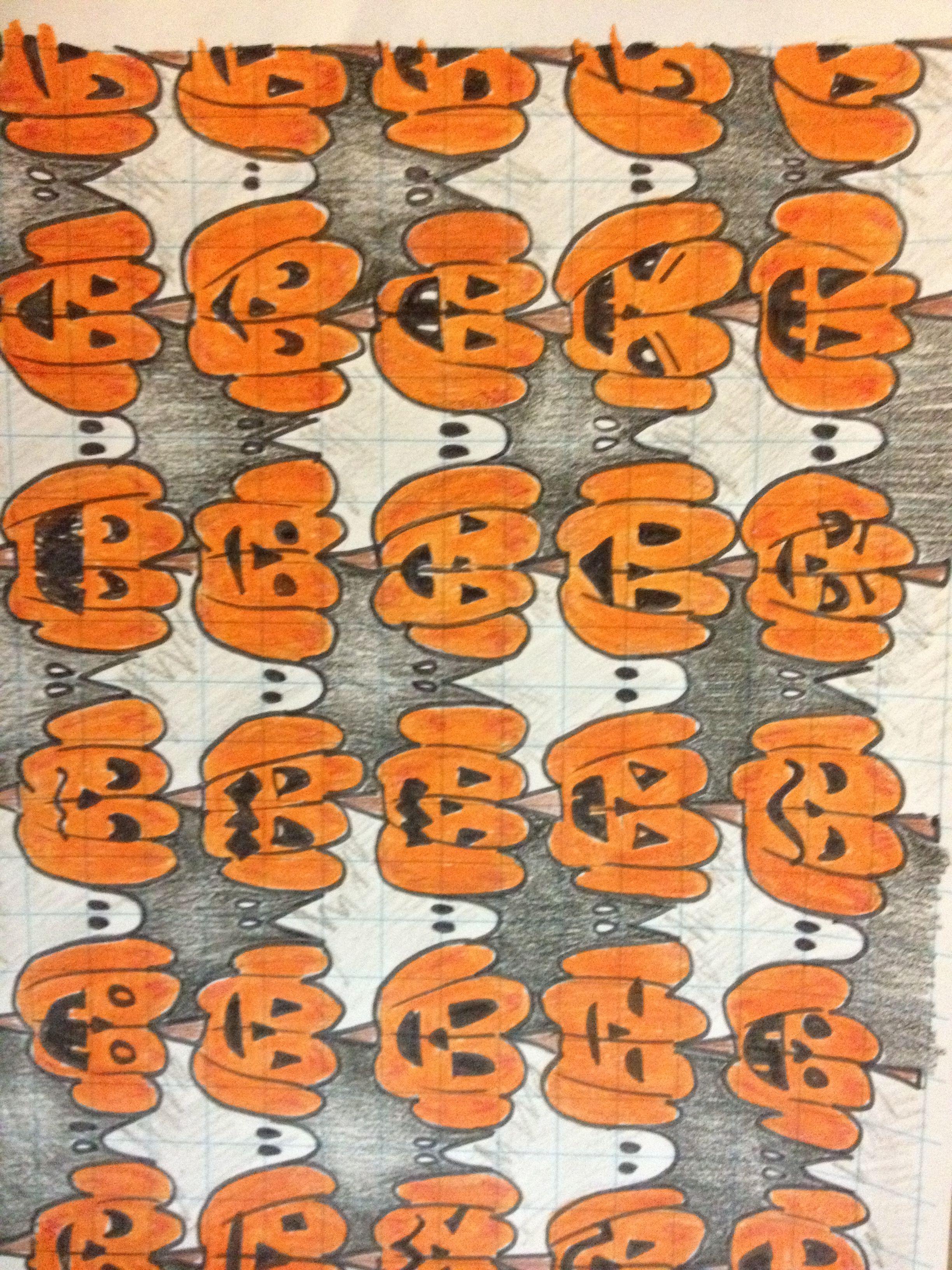 Pumpkin Bat And Ghost Tesselations