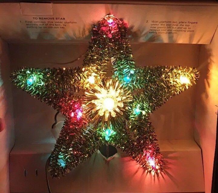 VINTAGE GE MERRY MIDGET 11 LIGHT TINSEL CHRISTMAS TREE TOPPER 1960\u0027s