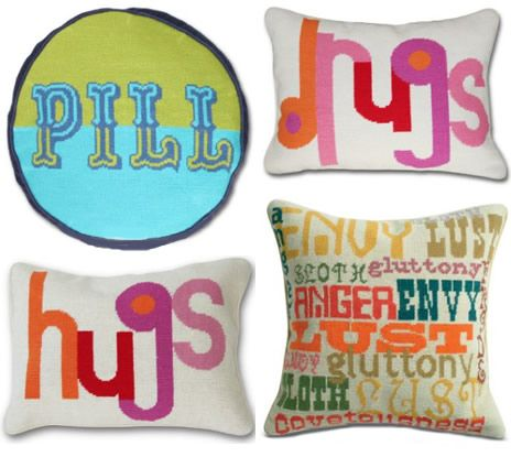 jonathan adleru0027s retro needlepoint pillows are making me want to get into needlepoint hard
