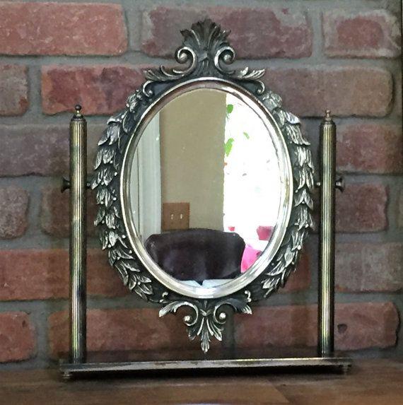 8 lbs. 15x13 Vintage Swivel Mirror Vanity Italy
