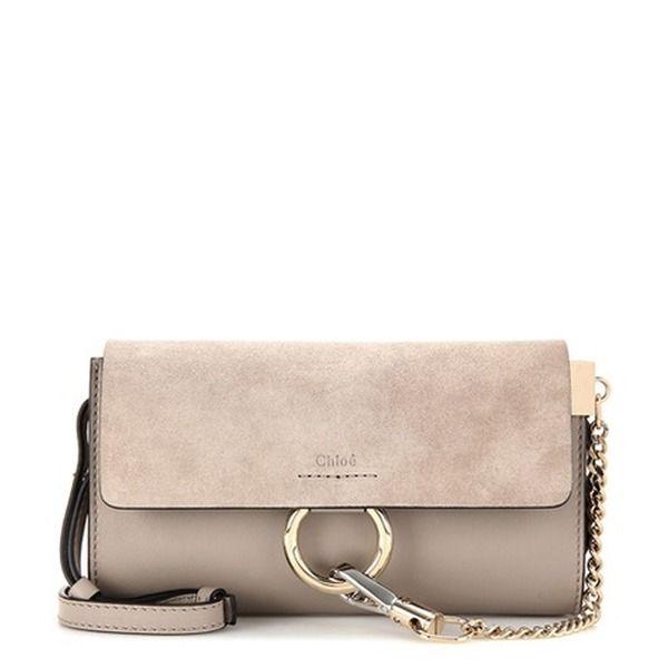 Chloé - Schultertasche Faye Mini aus Leder und Veloursleder