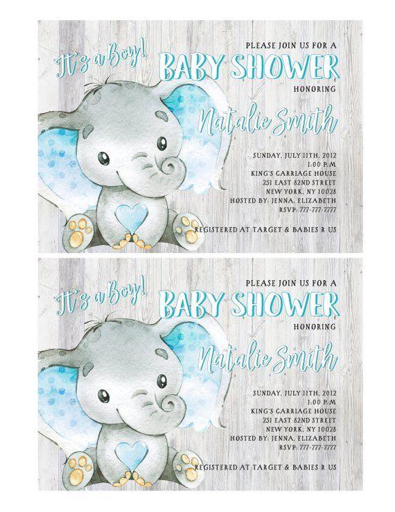 Baby Shower Invitations Boy Elephant Baby Shower Invitation It S A