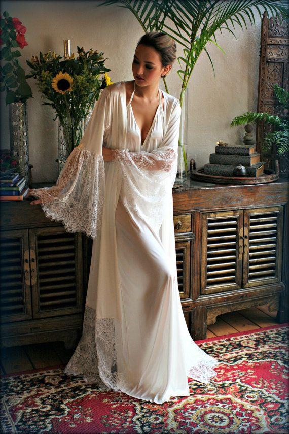 Satin Bridal Robe Lace Trimmed Angel Sleeve Wedding Sleepwear Bridal ...