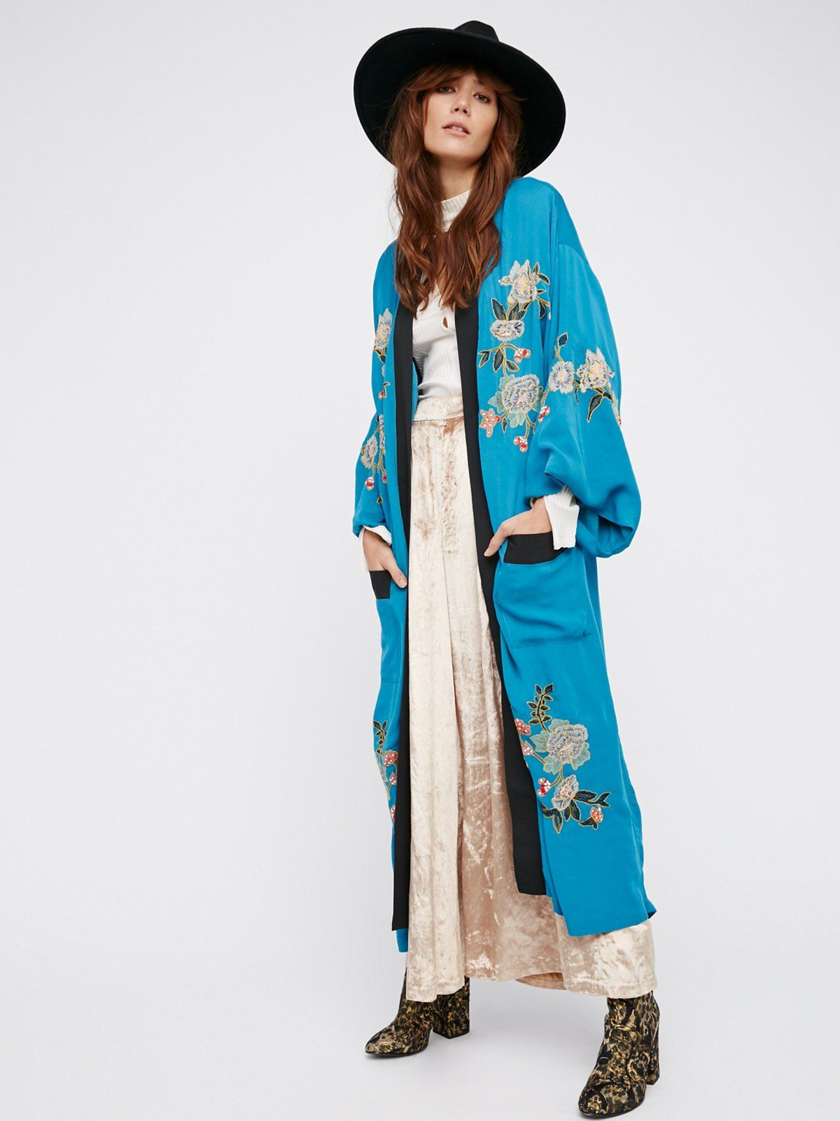 Floral Embroidered Kimono at Free People Clothing Boutique