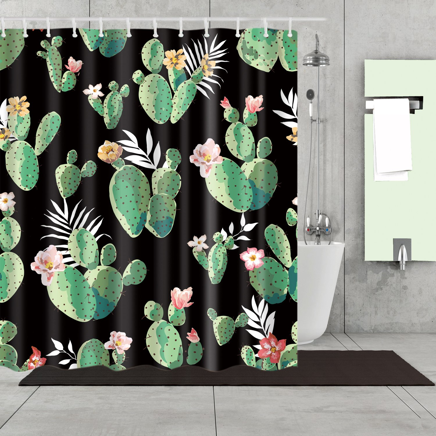 Black Backdrop Queen Of The Night Cactus Shower Curtain Bathroom Decor With Images Cactus Shower Curtain Shower Curtain Polyester Fabric Shower Curtains