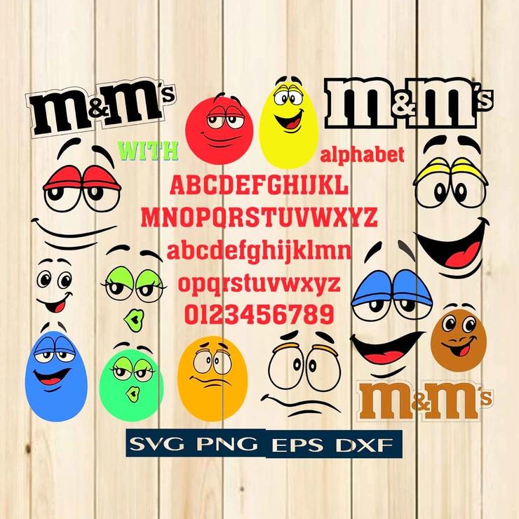 "M&M svg, Faces and Letter ""M"", Vector clipart font"