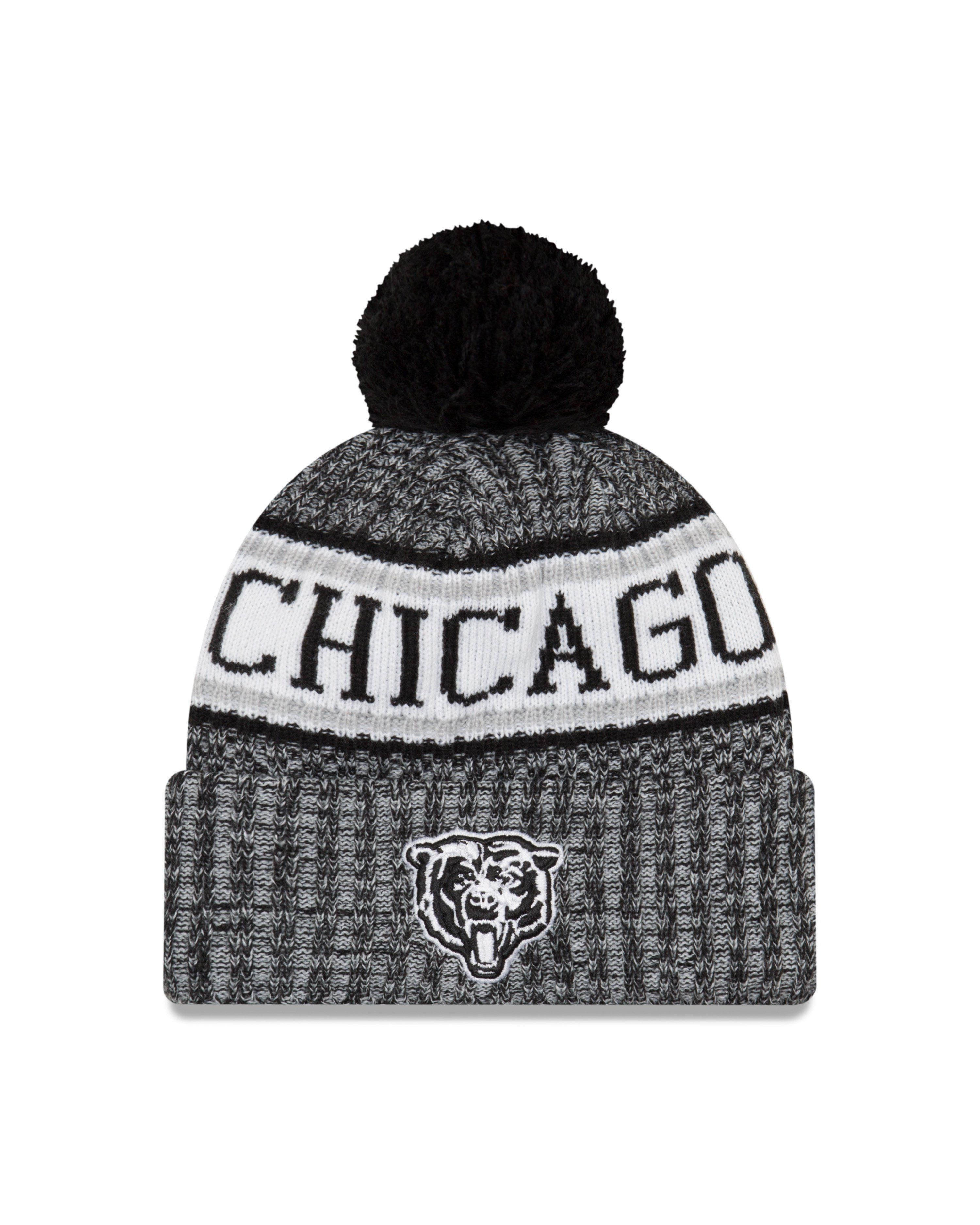f109c535cb1 Men s Chicago Bears Bear Head Logo Black And White NFL18 Sideline Cold  Weather Official Sport Knit Hat