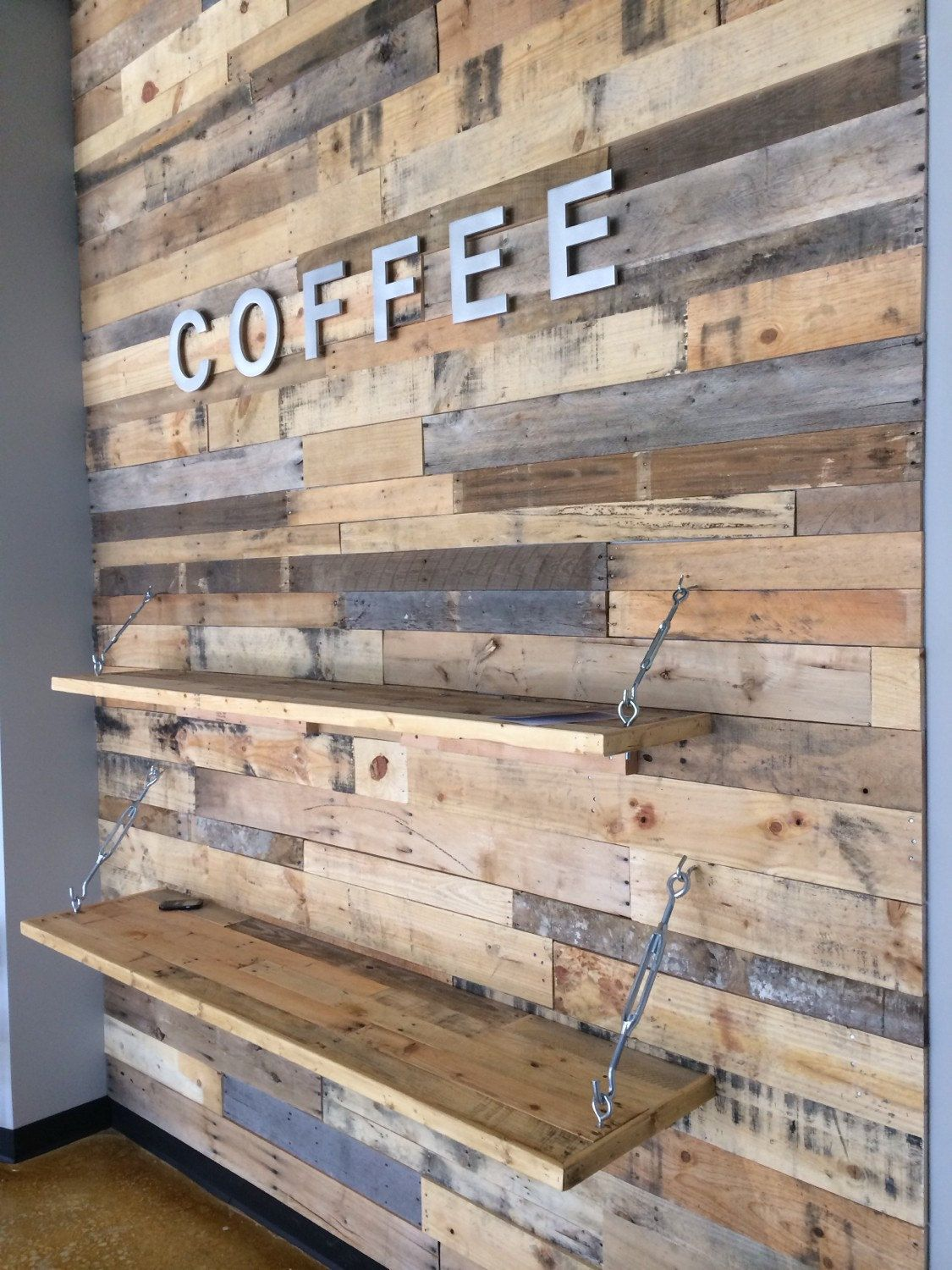 wood pallet accent wall pallet furniture diy h me. Black Bedroom Furniture Sets. Home Design Ideas