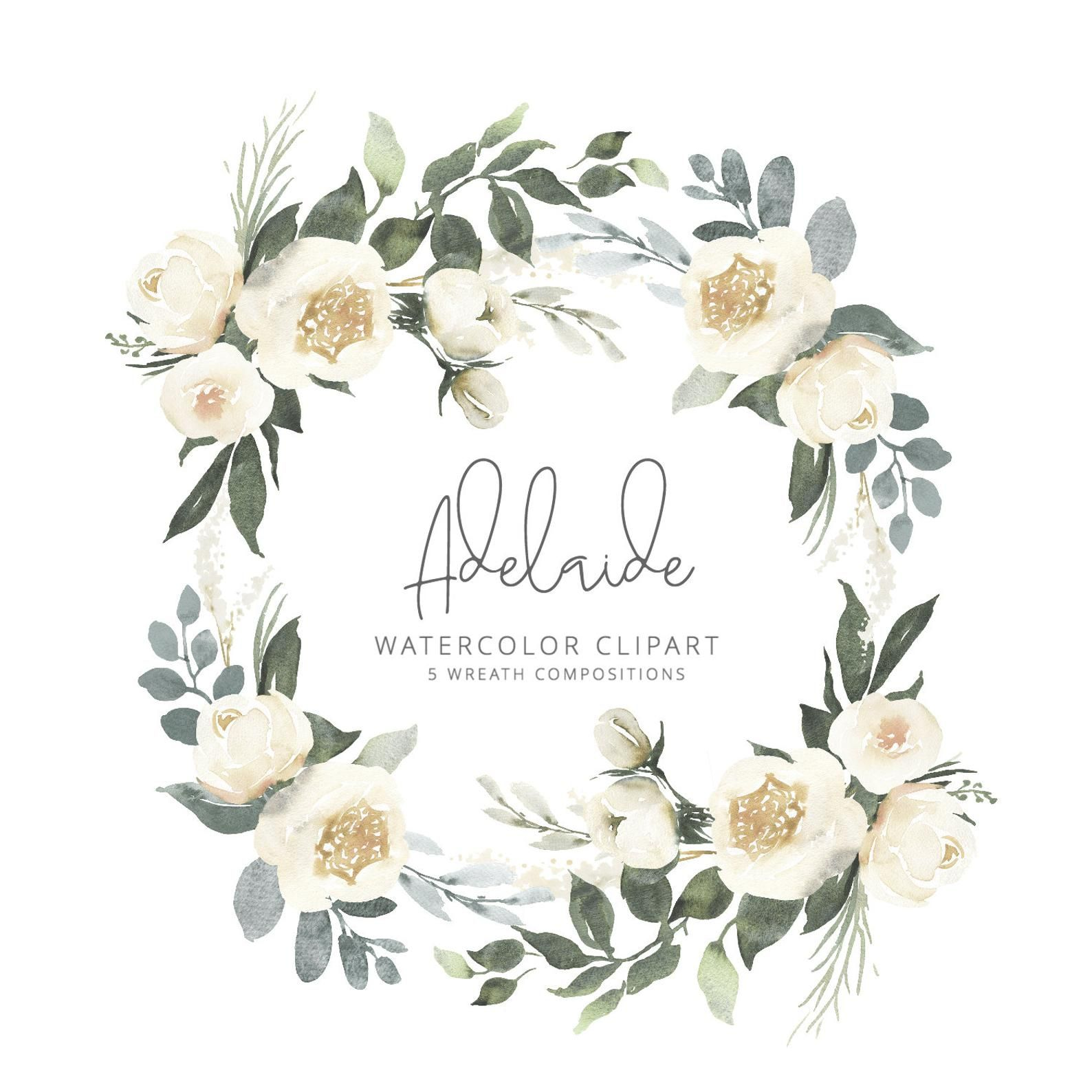 Adelaide Watercolor Clipart With White Roses And Eucalyptus Greenery Five Flower Wreath Compositions Wedding Clipart Adl Watercolor Clipart Watercolor Flower Illustration Clip Art