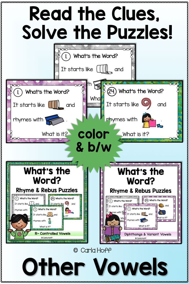 RHYME AND REBUS WORD PUZZLES Other Vowels Word puzzles