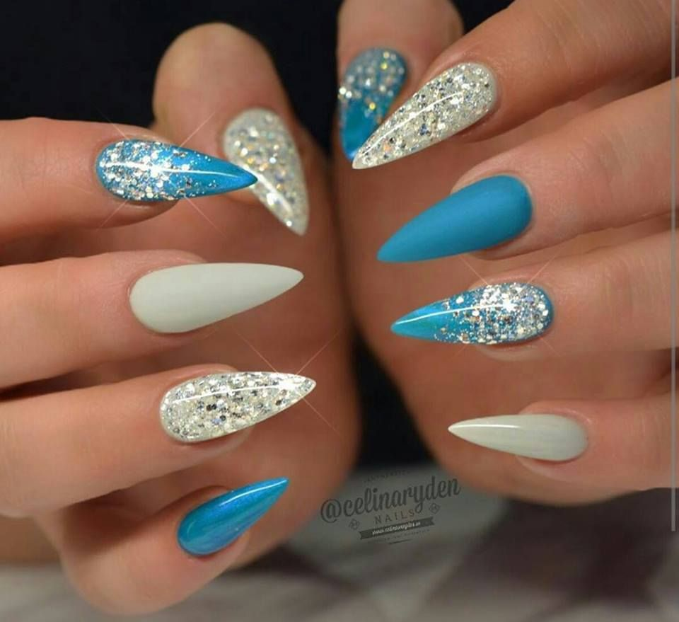 Gerelateerde Afbeelding Blue Stiletto Nails Pointy Nails Frozen Nails