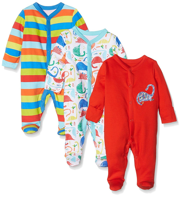 694c2fcef3b77 Mothercare Baby Boys' 3pk Dino Sleepsuit | Boys' Baby Clothes ...