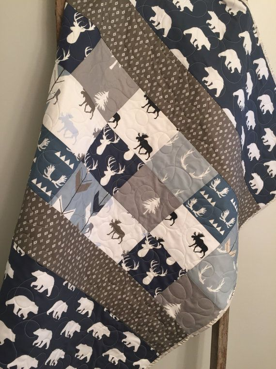 e4fc1ecfc3192 Woodland baby quilt, baby boy bedding, moose buck antlers, arrows ...