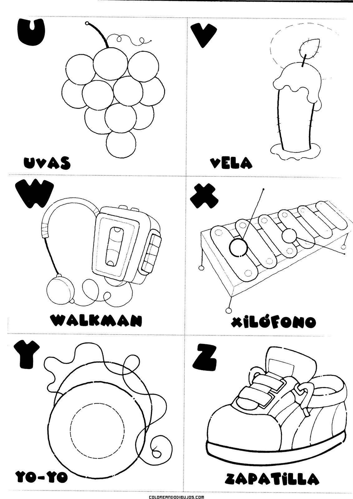 Letras U V W X Y Z Para Colorear Comunicación Abecedario