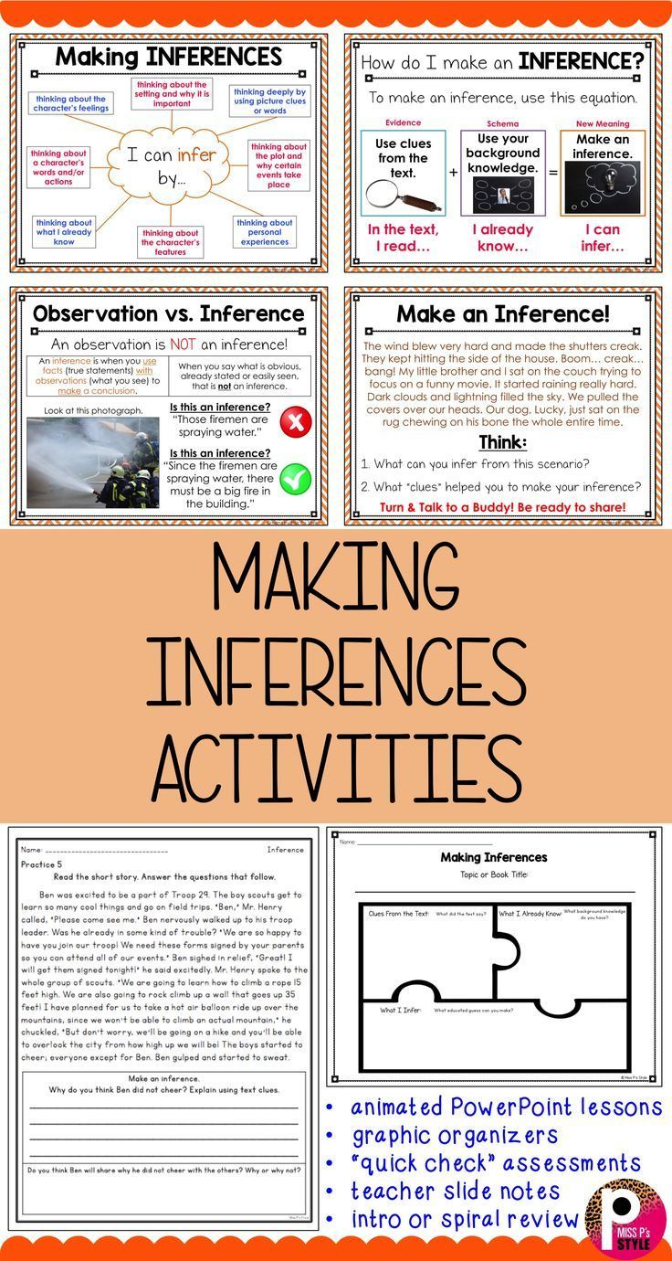 Inferences making in 2020 Inferencing lessons, Reading