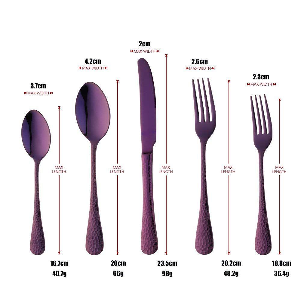 Amazon Com Bisda 5 Piece Purple Silverware Flatware Set Service For 1 Stainless Steel Cutlery Set Include Din Stainless Steel Cutlery Cutlery Set Flatware Set